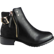 """EMBER"" Black Strap Chelsea Booties  Ankle Boots"