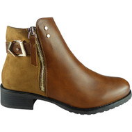 """EMBER"" Camel Strap Chelsea Booties  Ankle Boots"