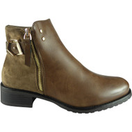 """EMBER"" Khaki Strap Chelsea Booties  Ankle Boots"