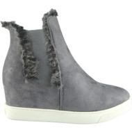 """DORA"" Grey Chelsea Fur Lining Hidden Wedge Ankle Boots"