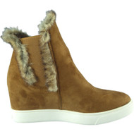 """DORA"" Camel Chelsea Fur Lining Hidden Wedge Ankle Boots"