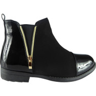 """CAM"" Black New  Guesset  Flat Heel Chelsea Ankle Boots"