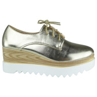 """""""BLISS"""" Gold Lace up Platform Mid Heel Wedge Shoes"""