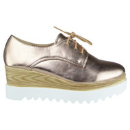 """""""BLISS"""" Champagne Lace up Platform Mid Heel Wedge Shoes"""