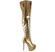 """BAY"" Gold Over Knee Thigh High Boots"