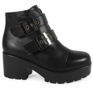 """BARRY"" All Black Flatforms Ankle Shoes"