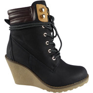 """ERLINE"" Black Lace Up High Top Wedge Heel Ankle Boots"