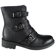 """EOSTRE"" Black Buckle Lace Up Combat Ankle Boots"