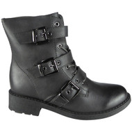"""EOSTRE"" Grey Buckle Lace Up Combat Ankle Boots"