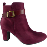"""EVERILD"" Wine  Buckle Strap  Party  Ankle Boots"