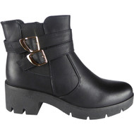 """ELLERY"" Black PU Buckle Strap Chunky Heel  Ankle Chelsea Boots"