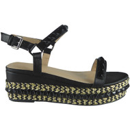 """CEDRICA"" Black Studded Ankle Strap  Wedge Sandals"