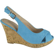 """GYPSY"" Blue Faux Suede Ankle Strap High Wedge Heel Sandals"