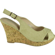 """GYPSY"" Beige Faux Suede Ankle Strap High Wedge Heel Sandals"