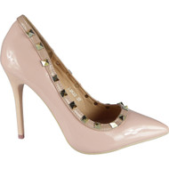 """ATHELA"" Pink Studded High Stiletto Heel Party Court Shoes"