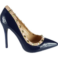 """ATHELA"" Blue Studded High Stiletto Heel Party Court Shoes"