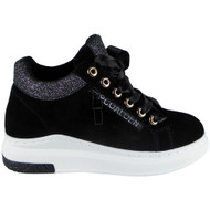 """DOORIYA"" Black Lace Up Flat Pumps Sports Sneakers Trainers Shoes"