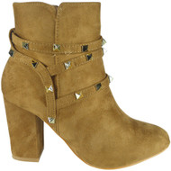 """GLEDA"" Camel Faux Suede Zip Mid Heel Party Studded Ankle Boots"