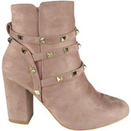 """GLEDA"" Pink Faux Suede Zip Mid Heel Party Studded Ankle Boots"