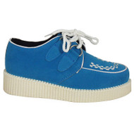 """EDWINA"" Blue  White Platform Creepers Shoes Trainers Pumps"