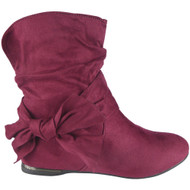 """EARTHA"" Wine Bow Faux Suede Slouch Low Heel Wedge Ankle Boots"