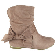 """EARTHA"" Pink Bow Faux Suede Slouch Low Heel Wedge Ankle Boots"