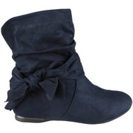 """EARTHA"" Blue Bow Faux Suede Slouch Low Heel Wedge Ankle Boots"