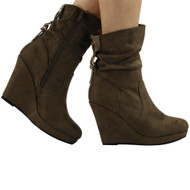"""BRIAR"" Khaki Faux Suede Platform Slouch Wedge Ankle Boots"
