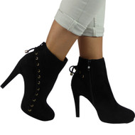 """HOPE"" Black  Lace Up Stiletto Heel Party Ankle Boots"