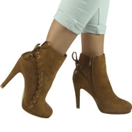 """HOPE"" Camel  Lace Up Stiletto Heel Party Ankle Boots"