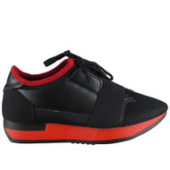 """ALDEN"" Black/Red Fitness Light Sports Comfy Lace Up Shoes"