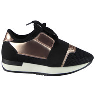 """ALDEN"" Black/Champagne Fitness Light Sports Comfy Lace Up Shoes"