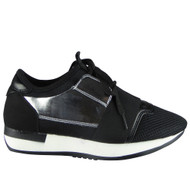 """ALDEN"" Black/Silver Fitness Light Sports Comfy Lace Up Shoes"