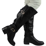 """""GERRY"" Black PU Knee High Low Heel Casual Calf Buckle Flat Boots"