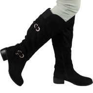 """GERRY"" Black Suede Knee High Low Heel Casual Calf Buckle Flat Boots"
