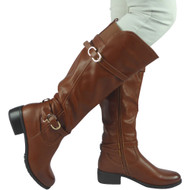 """GERRY"" Camel PU Knee High Low Heel Casual Calf Buckle Flat Boots"