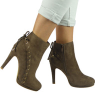 """HOPE"" Khaki  Lace Up Stiletto Heel Party Ankle Boots"