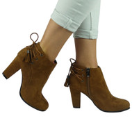 """DELWYN"" Camel Lace Up High Heel Party Office  Ankle Boots"