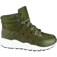 """DEMELZA"" Green High Hi Top Lace Up Flat Pumps Trainers"