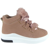 """""""Pakpao"""" Pink High Hi Top Lace Up Flat Pumps Trainers"""