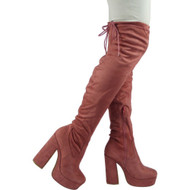 """CAI"" Pink Over The Knee Platform High Heel Boots"