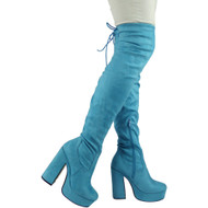 """CAI"" Blue Over The Knee Platform High Heel Boots"