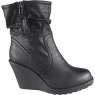 """CLEANTHA"" Black Mid Heel Wedge Ankle Boots"