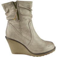"""CLEANTHA"" Khaki Mid Heel Wedge Ankle Boots"