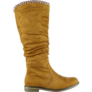 """DAWN"" Camel Faux Suede Rouched Mid Calf Boots"
