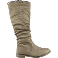 """DAWN"" Khaki Faux Suede Rouched Mid Calf Boots"