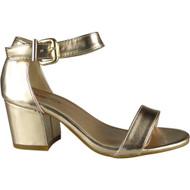 """HERTHA"" Rose Gold Metallic Ankle Strap Sandals"