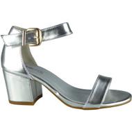 """HERTHA"" Silver Metallic Ankle Strap Sandals"