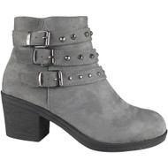 """DAMOSEL"" Grey Cuban Heel Buckle Ankle Boots"