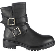 """KESTREL"" Black Buckle Strap Ankle Boots"